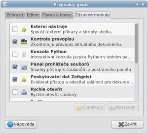 Editor gedit lze obohatit o další funkce prostřednictvím zásuvných modulů