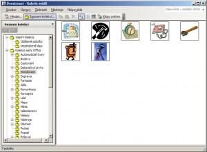 Galerie médií se zobrazenými kliparty sady MS Office a složkami