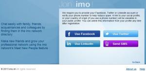 K registraci Imo účtu je třeba ověření přihlášením či SMS