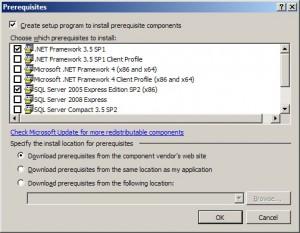 Zajištění automatické instalace součástí nutných pro běh programu