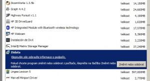 Program je uveden v seznamu instalovaných programů