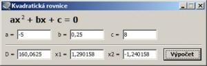 K řešení kvadratické rovnice stačí zadat jednotlivé hodnoty