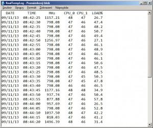 Logovací soubor zobrazuje přehledně informace o monitorování teploty