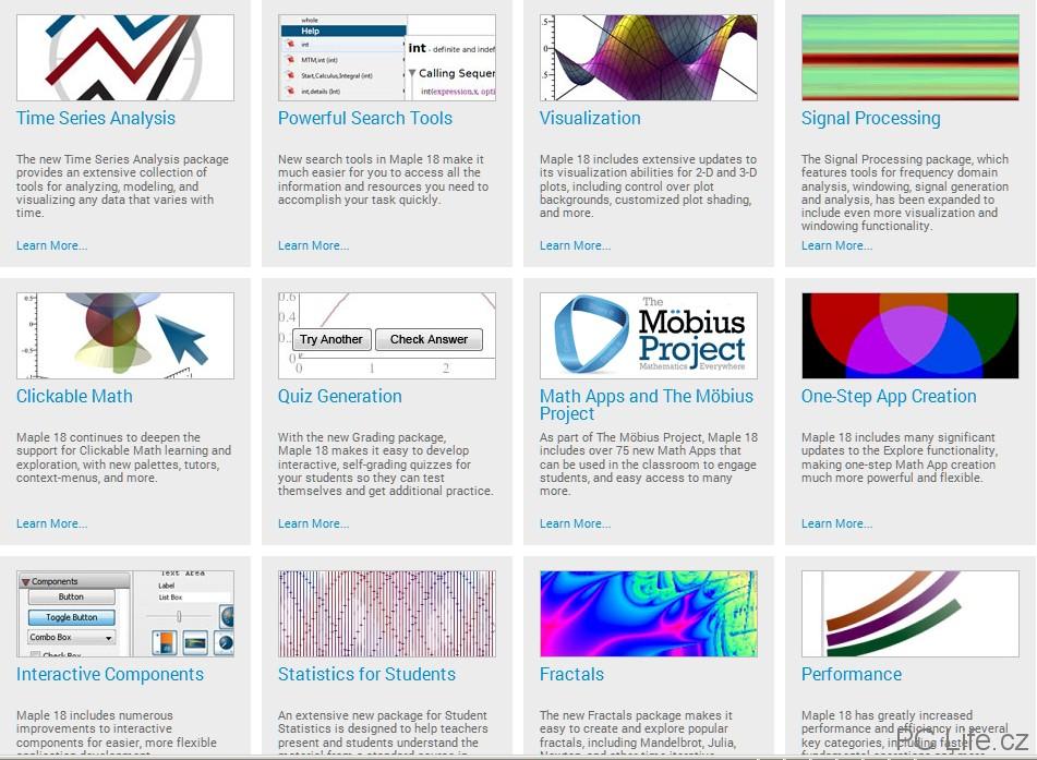 Maple 18 nabízí novinky, mnohá zlepšení i zvýšení výkonu (zdroj Maplesoft)