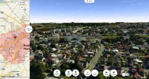 Kutná Hora v 3D mapě se sklopeným pohledem