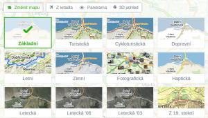 Mapy.cz nabízí 16 druhů map