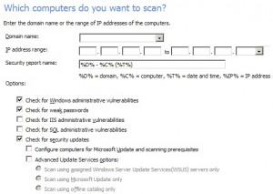 Možnosti pro testování domény či rozsahu IP adres