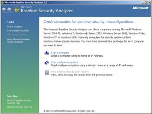 Základní obrazovka MBSA se třemi možnostmi skenu zabezpečení