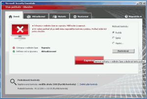 Hlavní okno Microsoft Security Essentials