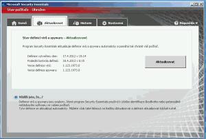 Okno s informacemi o aktualizacích MSE