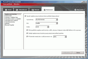 Záložka nastavení Microsoft Security Essentials