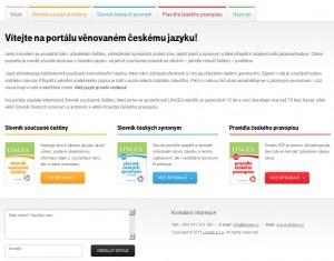 Úvodní stránka s jednotlivými částmi webu, nabídkou a kontakty