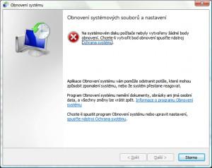 Upozornění, že na systémovém disku nejsou k dispozici žádné body obnovení a možnost jeho vytvoření