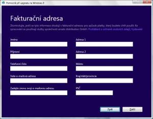 Fakturační údaje pro stažení Windows 8