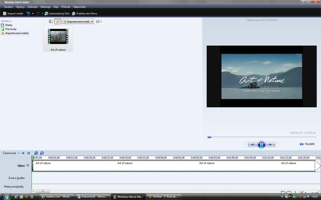 Importované video a přemístěné na časovou osu