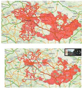 Panorama pokrytí nyní (nahoře) a v květnu 2014 (dole)