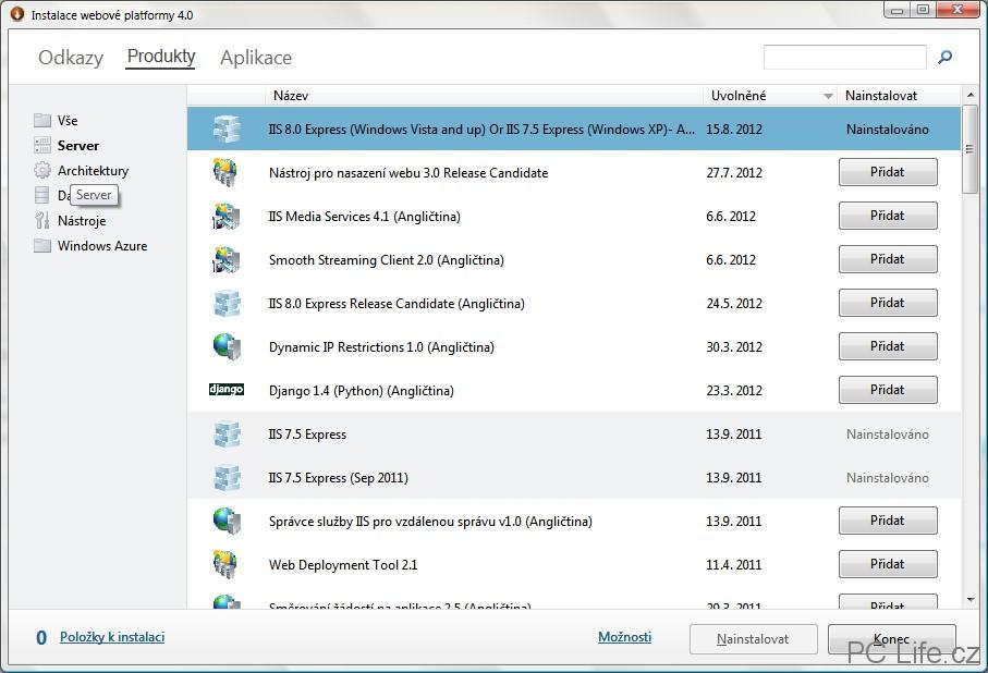 Výběr kategorie Server pro zobrazení nástrojů pro servery, zejména IIS