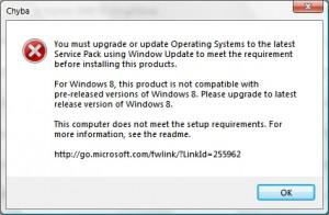 Chybové hlášení v angličtině, že daný produkt není určen pro daný OS v počítači