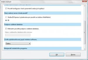 Možnosti Web PI s volbou kanálů. serveru a výchozího jazyka produktů