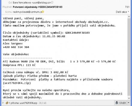 Podvodný zavirovaný e-mail