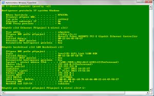 Příkaz ipconfig -all v PowerShell je stejný jako v Příkazovém řádku