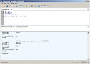 Spuštění skriptu s 5 příkazy v PowerShell ISE