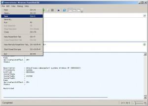 Uložení skriptu a další možnosti nabídky File