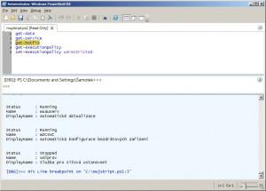 Nastavení breakpoints na určitém řádku k odladění skriptu