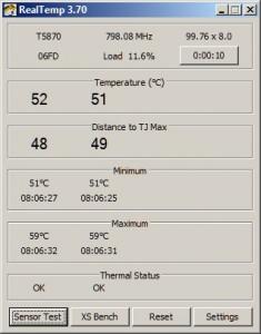 Okno programu RealTemp zobrazuje teplotu pro jednotlivá jádra CPU