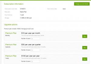 Nabídka upgradu účtu ve 3 variantách platby