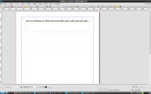 Základem tvorby je stránka, na niž se vše umisťuje, včetně textu