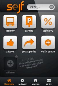 Hlavní obrazovka Sejfu s přehlednými ikonami