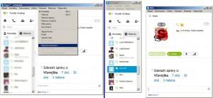 Úsporné zobrazení nabízí samostatná okna pro kontakty i komunikaci