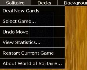 Nabídka skýtá možnost výběru hry a rozdání karet v aktuální hře