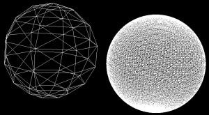 Drátěné modely koule s různým počtem trojúhelníků
