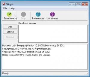 Původní vzhled aplikace Stinger s necelými 5000 variantami virů