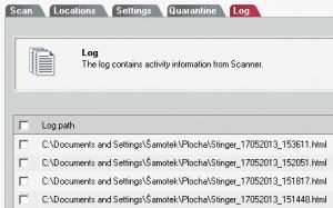 Log uchovává záznamy o provedených kontrolách