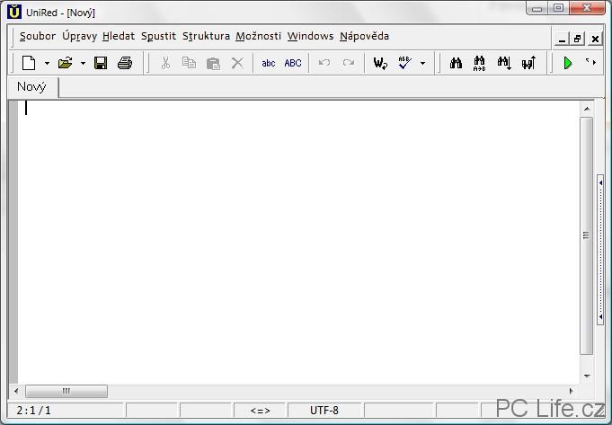 Základní okno editoru UniRed