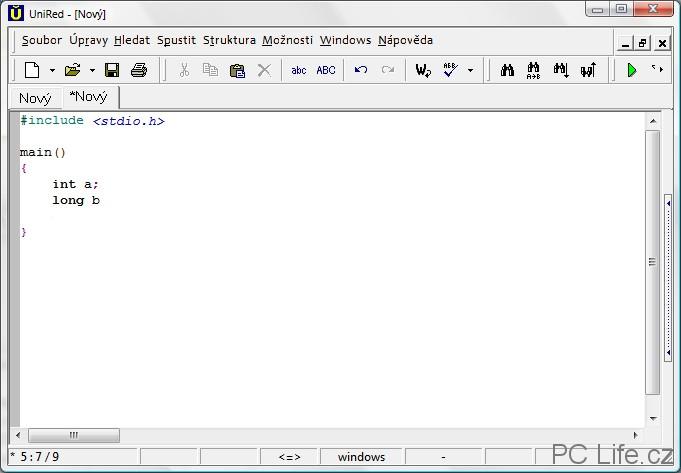 Zvýraznění syntaxe při psaní kódu programu v jazyce C