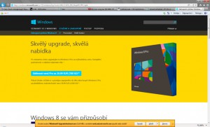 Web Microsoftu s nabídkou upgradu na Windows za 29,99 eur