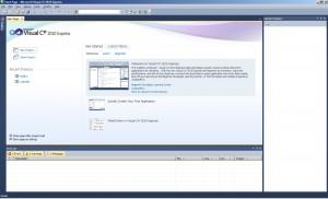 Úvodní okno s titulní stránkou a možností založit nový projekt či otevření