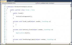 Režim zobrazení zdrojového kódu pro WinForms aplikace