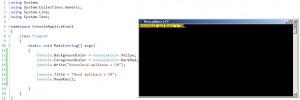 Nastavení vlastností okna konzolové aplikace v C# lze pouze v kódu