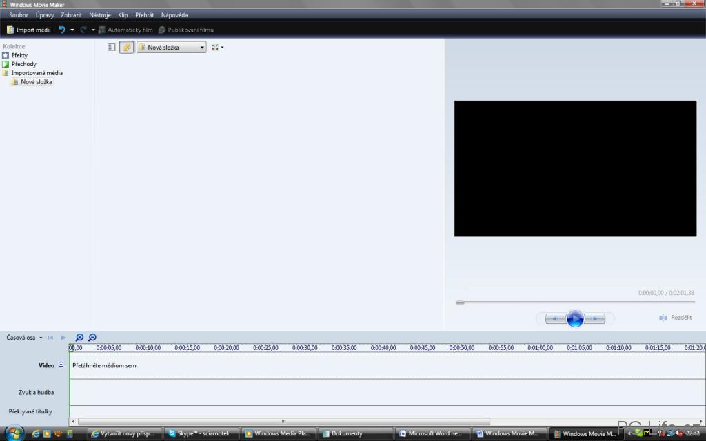 Základní prostředí aplikace Windows Movie Maker