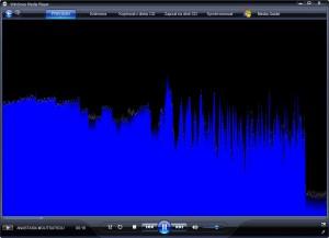 Windows Media Player s vizualizací při přehrávání zvuku