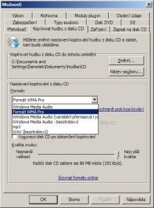 Možnosti kopírování zvukového CD do počítače