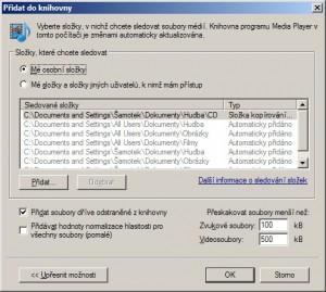 Možnosti prohledávání složek pro přidaná souborů do knihovny