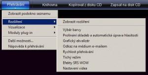 Rozšíření dostupná při přehrávání videa či zvuku