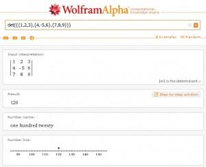Výpočet konkrétního determinantu se znázorněním na číselné ose