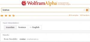 """Na dotaz """"kosinus"""" WolframAlpha usoudil, že se ptáme švédsky"""
